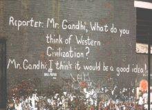 Gandhi /Civilisation Ghandi's quote By Leeds Postcards