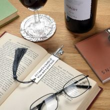 Wine & Book Lovers Pewter Bookmark By Glover and Smith