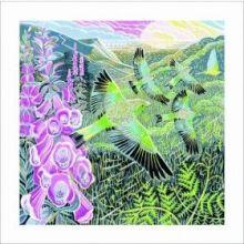 Foxgloves and Finches linoprint Greeting Card by Annie Soudain