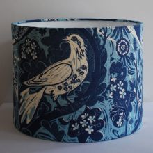 Blue/Blue Handmade Drum Lampshade in St Jude's Doveflight fabric by Mark Hearld