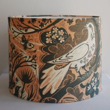 Grey/Pink Handmade Drum Lampshade in St Jude's Doveflight fabric by Mark Hearld