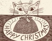 CHRISTMAS CARD PACK (5) Christmas Cat Artist: Emily Sutton
