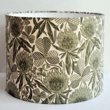 Clover Meadow Handmade Drum Lampshade in St Jude's Clover fabric by Angie Lewin