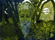 Green Man Linocut by Miranda Mott