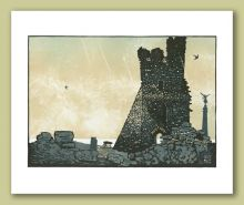 Aberystwyth Castle Greeting Card by Linocut Artist Ian Phillips