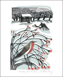 Bringing back the Tree a lino and screenprint by Angela Harding Art Greeting Card