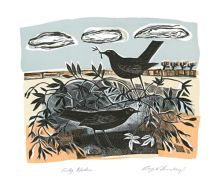 Early Nesters lithograph by Angela Harding - Art Greeting Card