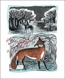 Stopping by Woods Lino and silkscreen print by Angela Harding