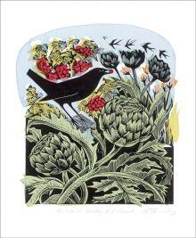 Blackbird Stealing Red Currants Lino and Silkscreen print by Angela Harding