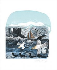 Gannets at Rathlin Island Linocut and screenprint by Angela Harding