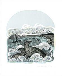Seals at Bardsey Linocut and screenprint by Angela Harding