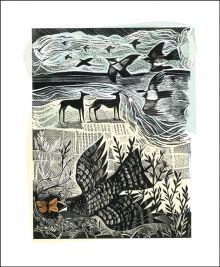 Nightjar and Sea Lino and silkscreen print by Angela Harding