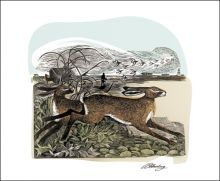 Hares at Orford Ness Linocut and screen print by Angela Harding
