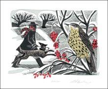 Winter Thrush  Vinyl Block and Silkscreen print by Angela Harding