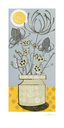 Totem linocut - Angie Lewin Art Greeting Card