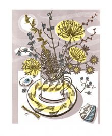 Moonlit Cup linocut Greeting Card by Angie Lewin