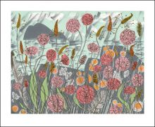 Lichen & Thrift Screenprint Greeting Card by Angie Lewin