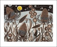Lakeside Teasels Linocut Angie Lewin Greeting Card