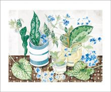Striped Cups and Spring Flowers, watercolour by Angie Lewin (Originally exhibited at 'Off the Wall' at Bankside Gallery)
