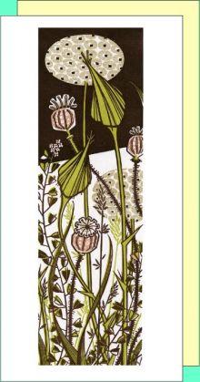 Evening Garden linocut - Angie Lewin Art Greeting Card