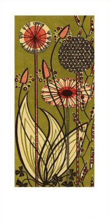 Dandelions linocut - Angie Lewin Art Greeting Card
