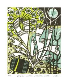 Beach with Alexanders Wood Engraving - Angie Lewin Art Greeting Card