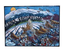 'Winter Thrushes' linocut Art Greeting Card by Andrew Haslen