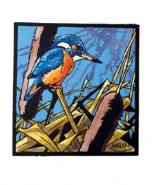 Kingfisher Linocut - Andrew Haslen Art Greeting Card