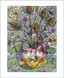 The Gardener's Arms II  Linocut by Angie Lewin