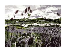 Wetlands screenprint - Andrew Lovell Art Greeting Card