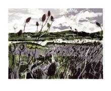 Wetlands screenprint - Andrew Lovell Art Greeting Card