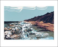 washing the Groynes Linocut print by Andrew Lovell
