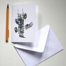 Blank Card - The Bird Feeder by Hannah Longmuir