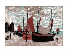 Boats on the beach at Hastings Linocut print by Melvyn Evans