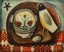 Breton Bowl and Felt Bird - Susan Gathercole