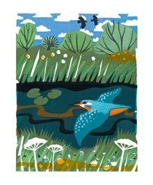 Kingfisher screenprint - Carry Akroyd Art Greeting Card