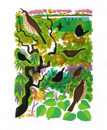 Astonished Bushes screenprint- Carry Akroyd Art Greeting Card
