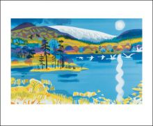 Swans return to the Loch Screenprint by Carry Akroyd