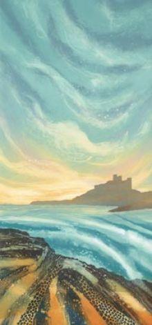 Evening Light, Bamburgh Rebecca Vincent - Greetings Card