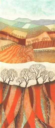 Winter Patchwork - Fields and Furrows - Rebecca Vincent Greeting Cards