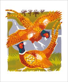 Pheasants Screenprint by Carry Akroyd