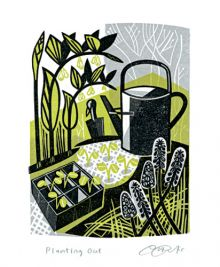 Planting Out linocut - Clare Curtis Art Greeting Card