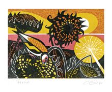 Helius linocut by Clare Curtis - Art Greeting Card
