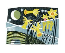 Narcissus linocut Greeting Card by Clare Curtis