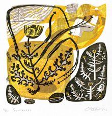 Sunlovers linocut - Clare Curtis Art Greeting Card