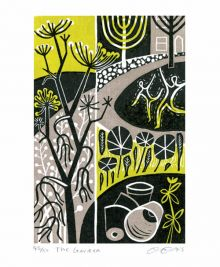 The Garden linocut - Clare Curtis Art Greeting Card