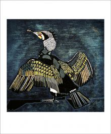 Cormorant Linocut and etched block by Cathy King