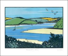The Camel Trail in Spring Linocut by Colin Moore