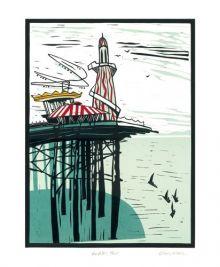 Brighton Pier Linocut by Colin Moore