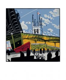 Borough Market linocut by Colin Moore